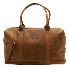 Rowallan - Brown Distressed Cowhide Leather Travel Bag/Holdall with Strap