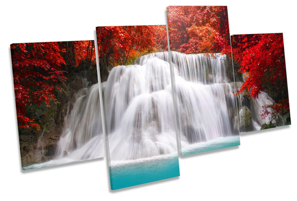Waterfall rot Forest Landscape Picture MULTI CANVAS WALL ART Print