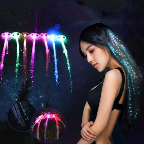 5x DEL Feu Clignotant-up en épingle à cheveux tresse fibre 35 cm Lumineux Optique cheveux Rave Party