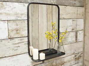 Image Is Loading Industrial Metal Wall Mounted Bathroom Mirror Storage Display