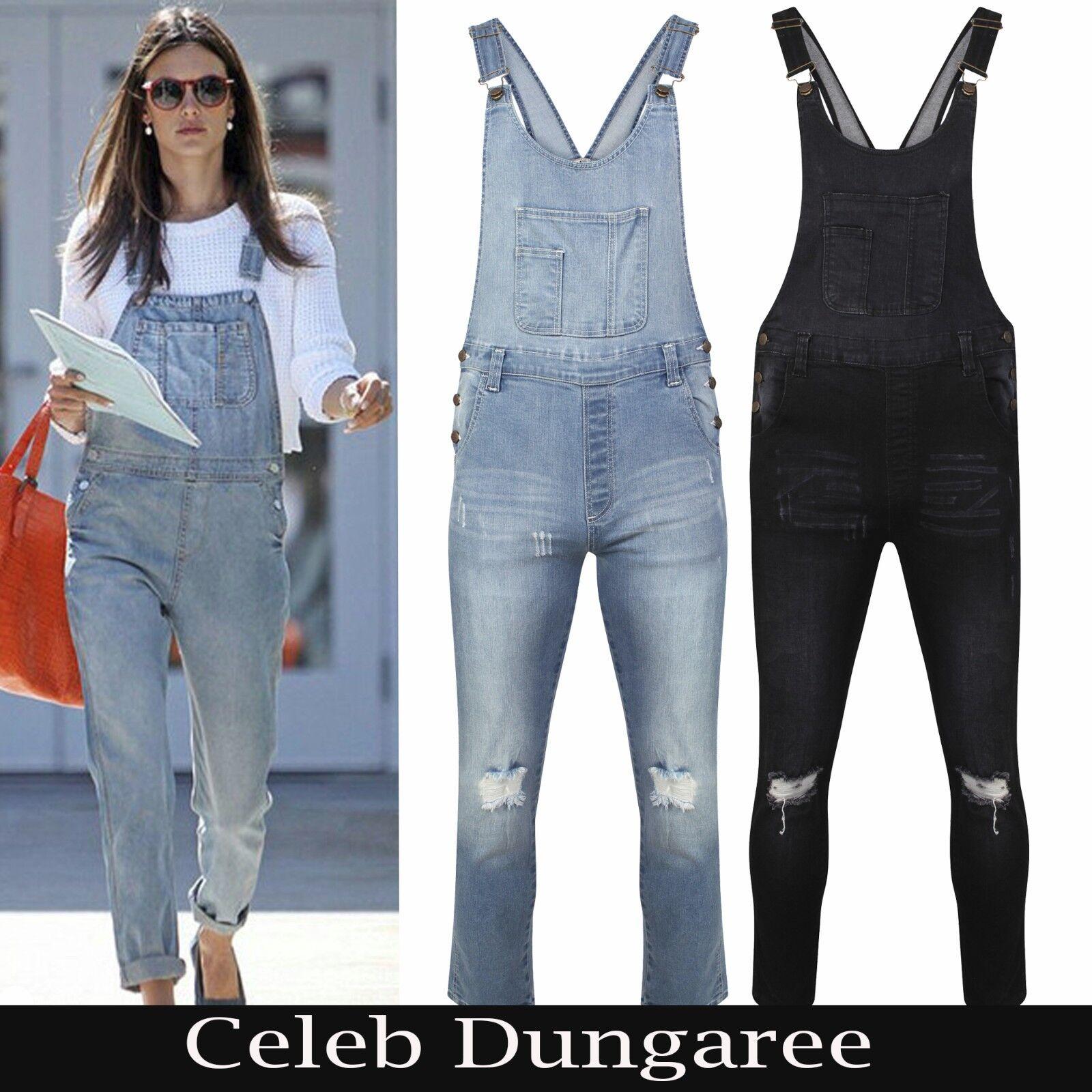 873a2a4063c7 Details about Women s Ladies Denim Dungarees Slim Fit Ripped Light   Black  Wash Jeans Jumpsuit