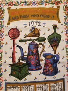 Vtg-1972-Linen-Ecru-Calendar-Tea-Towel-BLESS-MY-LITTLE-KITCHEN-Primitive-Rustic