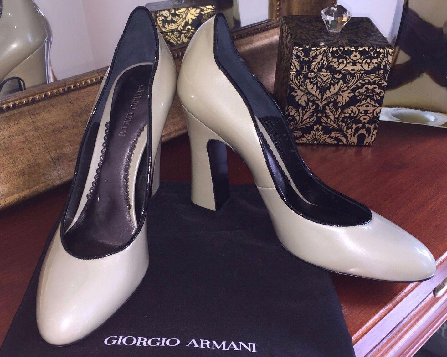 senza esitazione! acquista ora! Brand New Giorgio Armani Patent Leather Leather Leather Pump scarpe XGDB62 Dimensione EU 38.5  in vendita