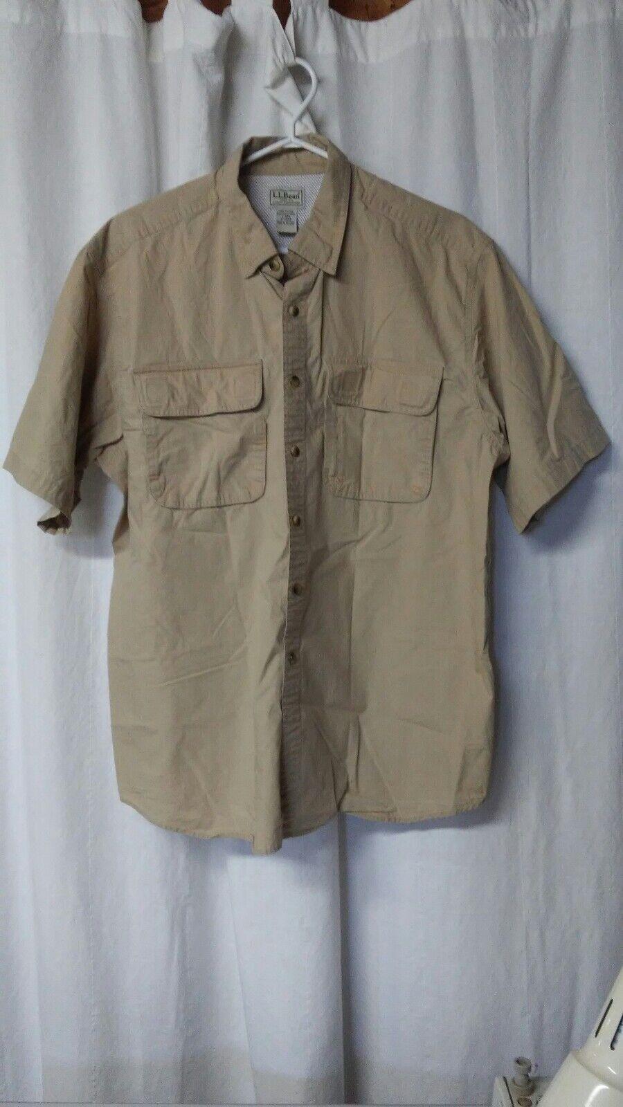 Vintage LL BEAN Mens L Short Sleeve Outdoor Safari Button Shirt Tan