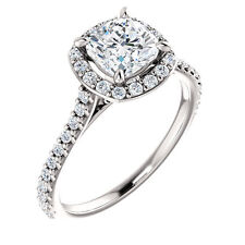 Halo Style White Gold Cushion Diamond Pave Semi Mount Setting Engagement Ring