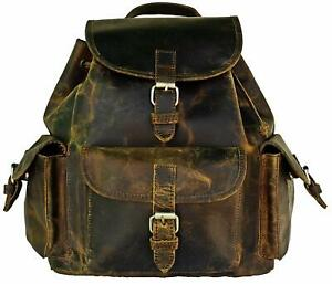Backpack Leather Trim Casual Book Bag