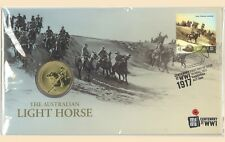 2017 The Australian Light Horse WWI PNC Stamp & $1 UNC Coin Cover