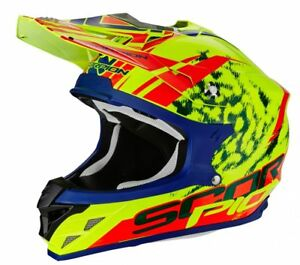 Cross-Helmet-Scorpion-VX-15-Evo-Air-Kitsune-Neon-Yellow-Red-SIZE-S-M-L-XL