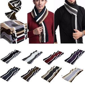 Men-Cashmere-Scarf-Super-Soft-Fringe-Striped-Tassel-Long-Shawl-Stole-Neck-Wrap