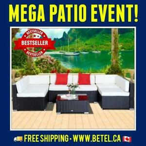 SALE • 7pc Wicker Patio Outdoor Furniture Conversation Set   Coffee Cream and Assorted Colours Canada Preview