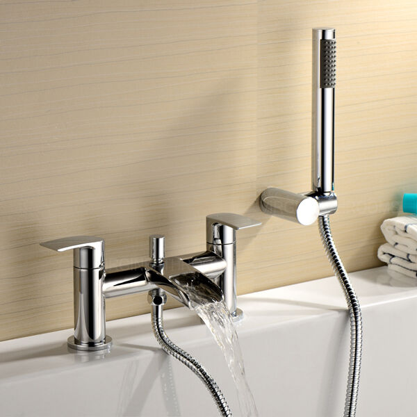 Robinet salle de bain cascade VIRGO bain douche Mélangeur chrome design moderne en laiton massif