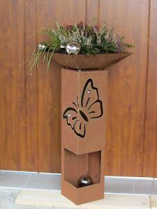 Feuer-Saeule-SCHMETTERLING-Edelrost-Rost-Deko-Garten-Deko-Fackel-Windlicht-Blume