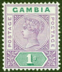 Gambia-1898-1s-Violet-amp-Green-SG44a-Malformed-S-V-F-Lightly-Mtd-Mint-Choice-Rare