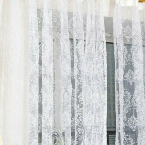 Curtains & Blinds Floral Net Tulle Window Curtain Sheer Panel Voile Slot Top Door Divider Drape UK Curtains & Pelmets