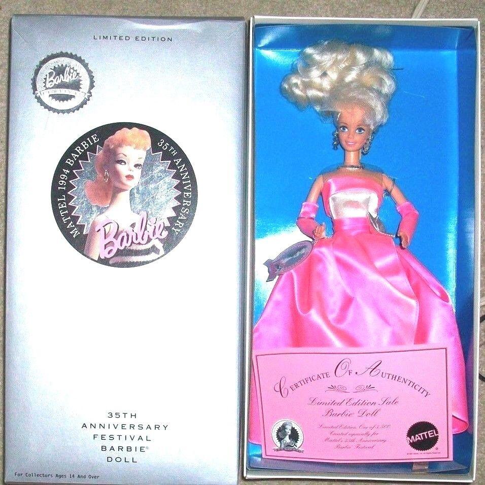 1994 35th Aniversario Festival Barbie L Ed raro duro encontrar con sello