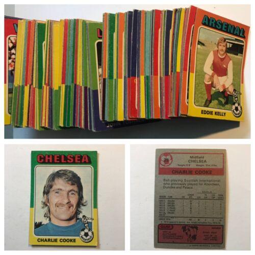 Topps Red Back 1975 tarjetas comerciales FÚTBOL completar su conjunto diversas cantidades