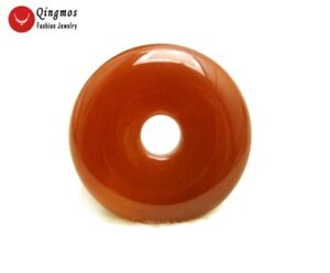 Natural Agate Pendant for Women with 30mm Red Donuts Shape Agate Pendant pen99