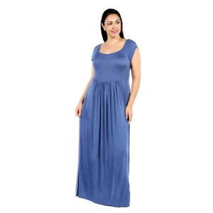 526e96c1580 Details about 24 7 Comfort Apparel Women s Plus Short Sleeve Maxi Dress