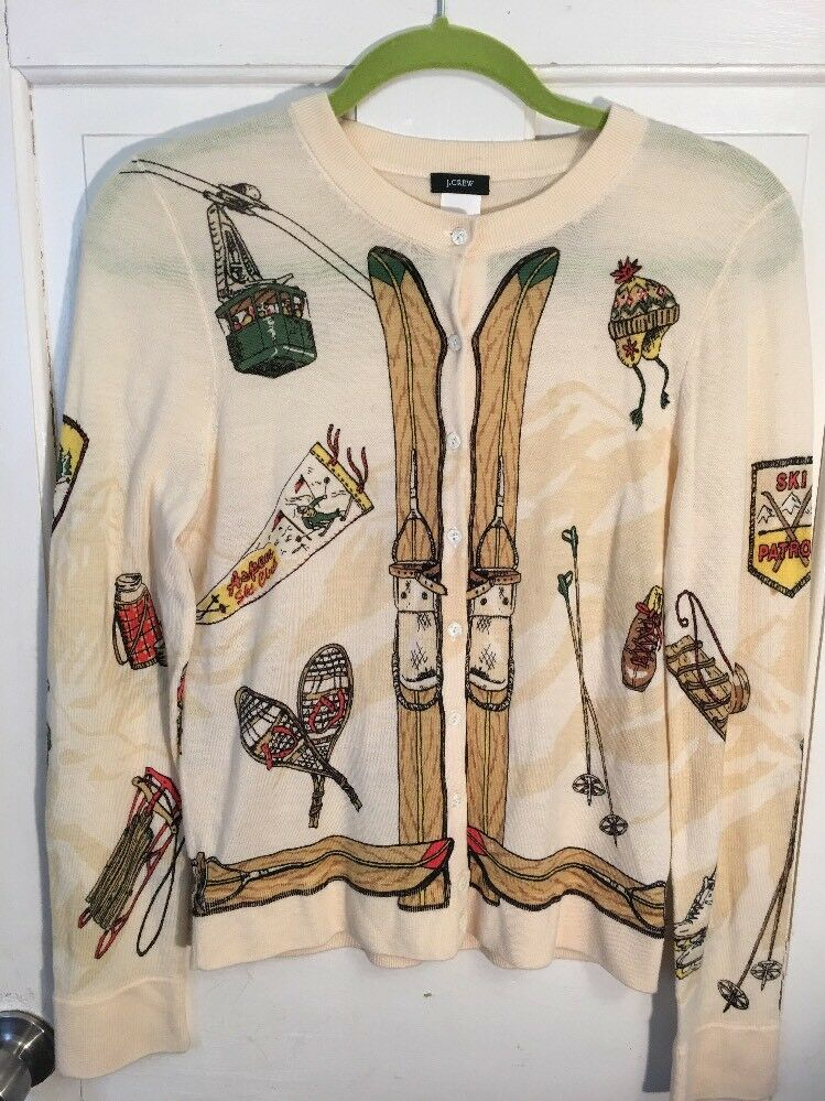 J. Crew Rare Vintage Ski Theme Cardigan Cardigan Cardigan Fkawless M 98ce13