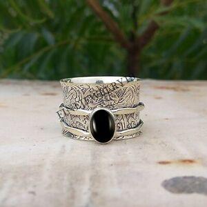 Black Onyx 925 Sterling Silver Spinner Ring Meditation Ring Band Handmade odd11