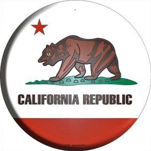 "CA California State Flag 12/"" Round Metal Sign US Patriotic Man Cave Home Decor"