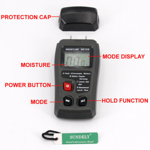 Digital LCD Wood Moisture Humidity Meter Damp Detector Tester Sensor