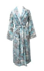 f66290af26 806025 New Miss Elaine Blue Floral Brushed Back Terry Long Robe ...