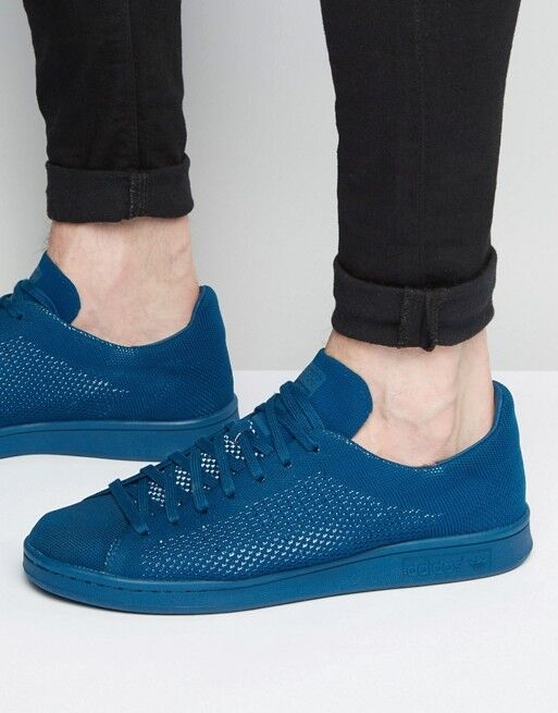 Adidas Originals Stan Smith PK Primeknit Blue S80067 Men's sz 9 Shoes Sneakers