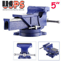 5 Bench Vise Heavy Duty Cast Iron 360 Degree Swivel Base Table Clamp Mechanics