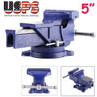 5 Bench Vise Heavy Duty Cast Iron 360 Degree Swivel Base Table Clamp Mechanics