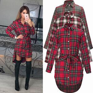 Damen-Kariert-Plaid-Longshirt-Langarm-Bluse-Hemdkleider-Pulli-Tunika-Minikleid