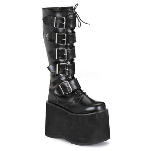 Demonia Gótico Punk Rock Mega 618 Negro 5 Hebilla Damas Plataforma Alta Botas a la rodilla