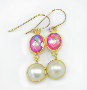 White-Button-Pearl-Earrings-Pink-Mystic-Topaz-Double-Hung-14k-Solid-Gold-Bezel