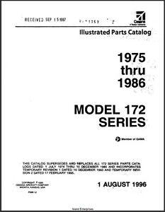 1975 1986 cessna model 172 series illustrated parts catalog revision rh ebay com Cessna 172 Poh Cessna 172 Performance Charts