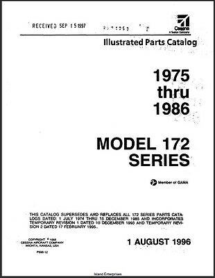 1975 1986 Cessna Model 172 Series Illustrated Parts Catalog Revision 1996 Manual EBay