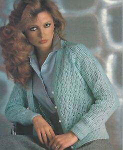 Ladies-V-neck-Lace-Cardigan-Knitting-Pattern-Girls-4ply-24-42-034-960