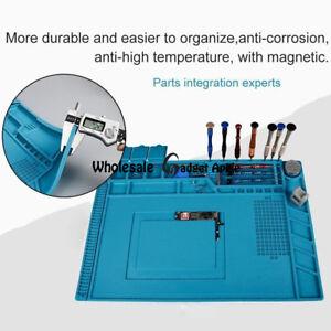 34x23CM New Magnetic Heat Silicone Pad Desk Mat Soldering Repair Blue