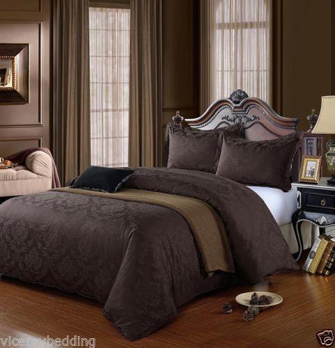 100/% Egyptian Cotton 500 Thread Count Damask Jacquard Duvet Cover Set CHOCOLATE