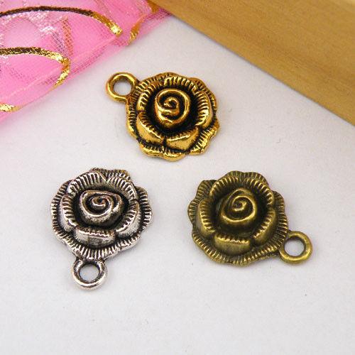 6Pcs Tibetan Silver,Antiqued Gold,Bronze Rose Flower Charms Pendants M1132
