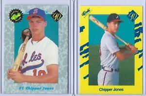 (2) CHIPPER JONES 1990 CLASSIC ROOKIE CARD LOT #T92 & #1! ATLANTA BRAVES!