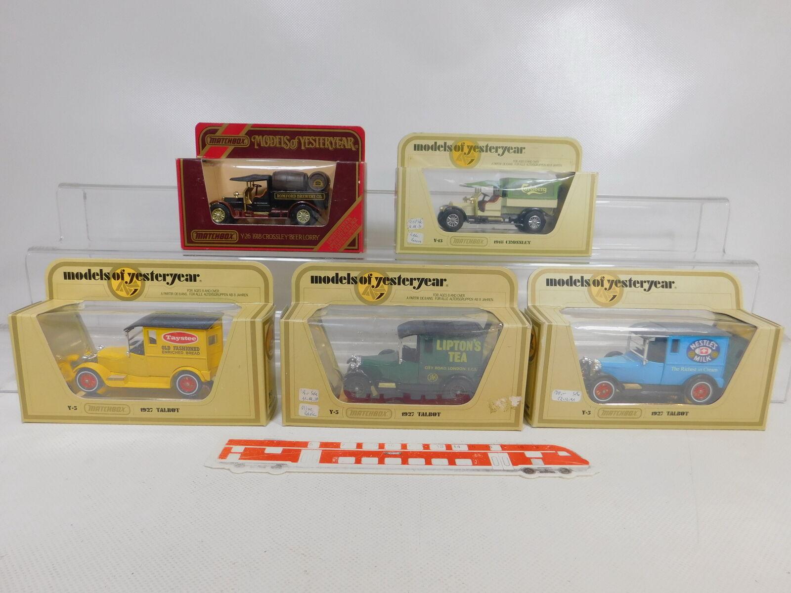 CA186-2  5x Matchscatola 1 47 modellolo  Y-5 Talbot Y-13 Y-26 Crossley, Molto Gut scatola