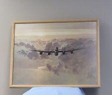 Vintage Military Lancaster World War 2 Bomber Plane Print Painting UK Avro Art
