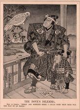 1933 CARTOON POLITICAL JAPAN GENEVA  DOVE KIMONO SAMURAI RISING SUN PARTRIDGE