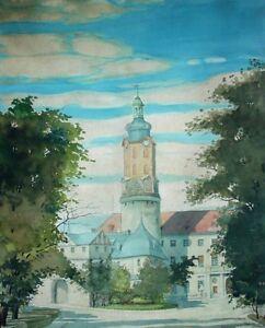KARL-ZUCKSCHWERDT-1890-1961-Aquarell-1945-SCHLOSSTURM-STADTSCHLOSS-WEIMAR