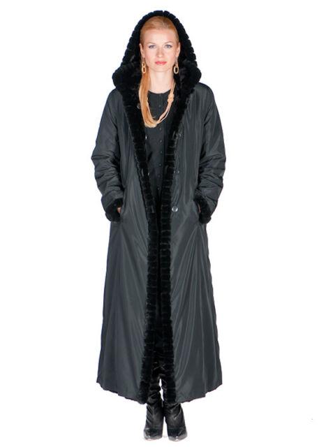 773ce95103dc Black Full Length Sheared Mink Fur Coat Long Hooded Reversible