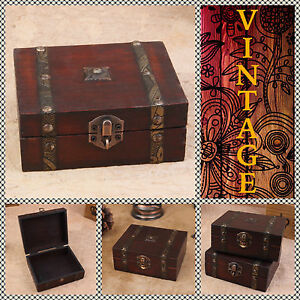 Vintage Retro Wooden Small Chest Wood Box For Jewelry