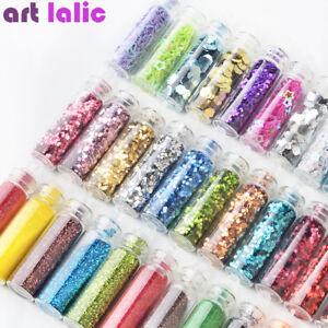 12-Nail-Art-Glitter-Powder-Flakes-Sequin-Caviar-UV-Gel-Decor-Dust-Tips-Bottles