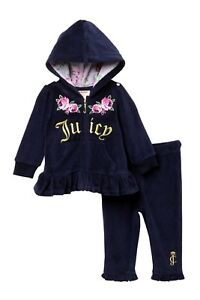 8cde7918da Details about JUICY COUTURE baby girl Rose Embroidery velour TRACKSUIT 3 6  9 12 18M BNWT