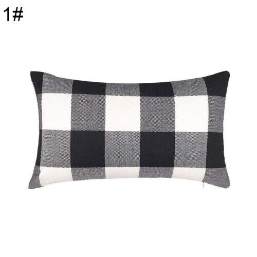 AB/_ 30x50cm Plaid Linen Soft Throw Pillow Case Cushion Cover Home Sofa Car Bed D