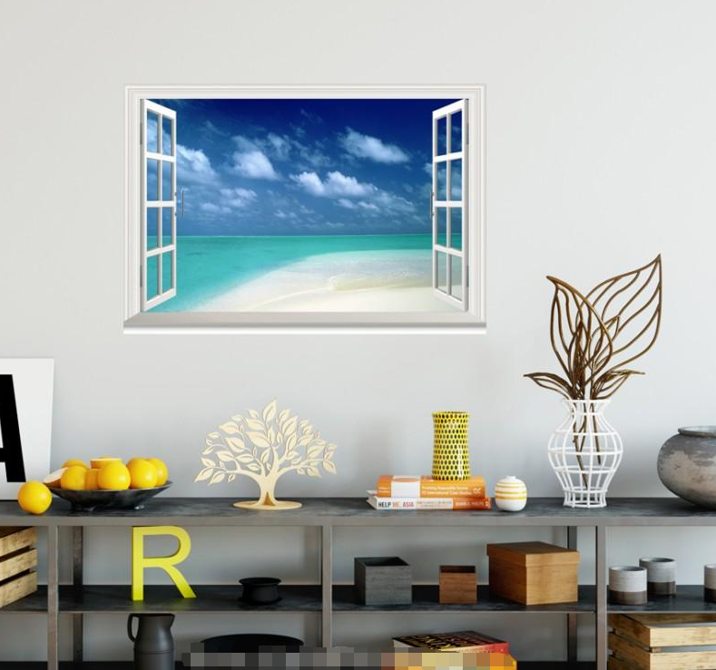 3D Beach View Sky Sea 038 Open Windows WallPaper Murals Wall Print AJ Carly
